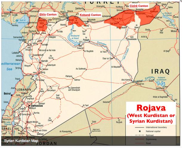シリア北部クルド人飛び地地図
