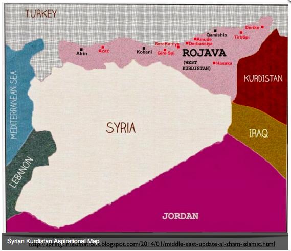 シリア北部クルド人最大地図