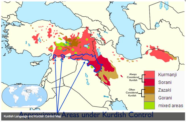 シリア・トルコ・イラク・イランのクルド人地図