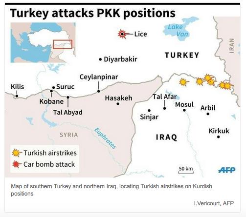トルコのイラク北部PKK空爆AFP26July2015