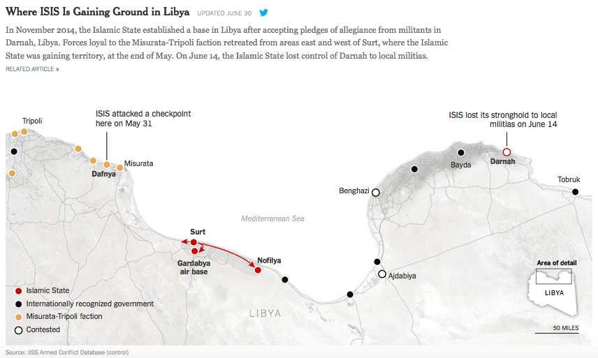 リビアのイスラーム国NYT_June31_2015Where ISIS is gaining ground in Libya