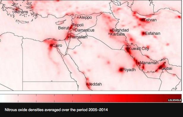 中東の二酸化窒素