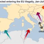 【地図】地中海の難民・移民の流れ