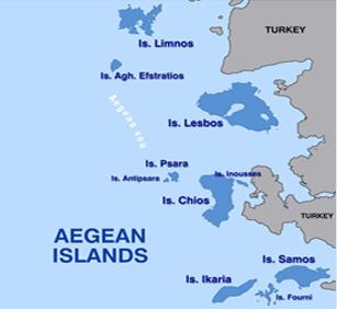 トルコ沿岸のギリシア諸島