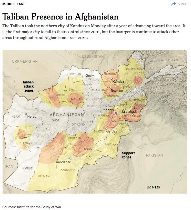 アフガニスタンのターリバーン活動地域