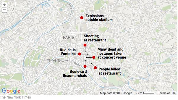 パリ同時多発テロ地図NYT