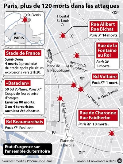 パリ同時多発テロ2015年11月13日地図IDE