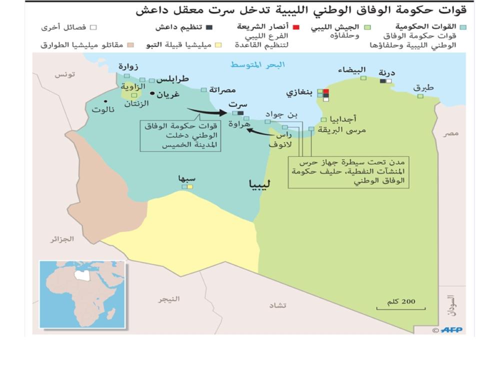 リビアの分裂地図AFPアラビア語2016年6月