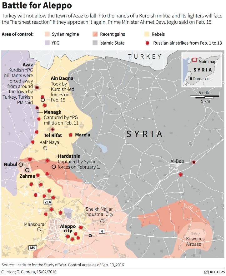 シリアのアレッポ北回廊ロイター2016年2月15日
