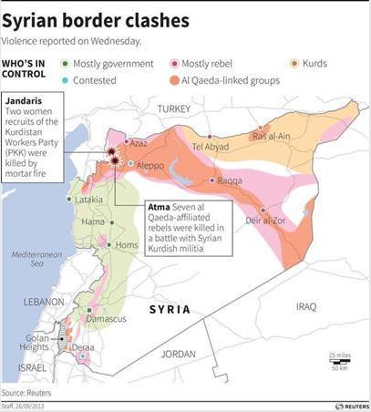 シリア勢力地図2013年9月26日ロイター
