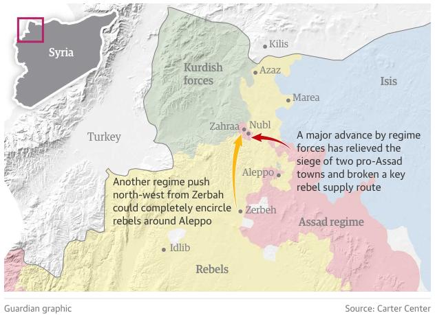 アサド政権軍の反体制派トルコへの補給路切断2016年2月