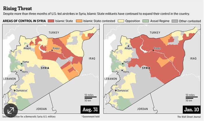 ISIS Syria 2014 Aug 2015 Jan WSJ