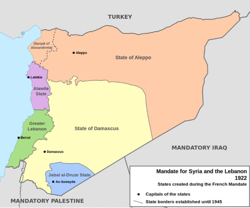 シリアのフランス委任統治分割案