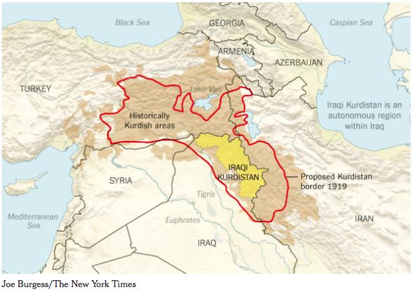 クルド人の国家要求範囲1919