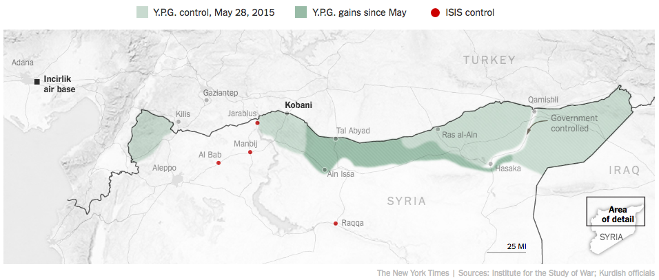 シリア北部クルド領域2015年5月・8月の拡大