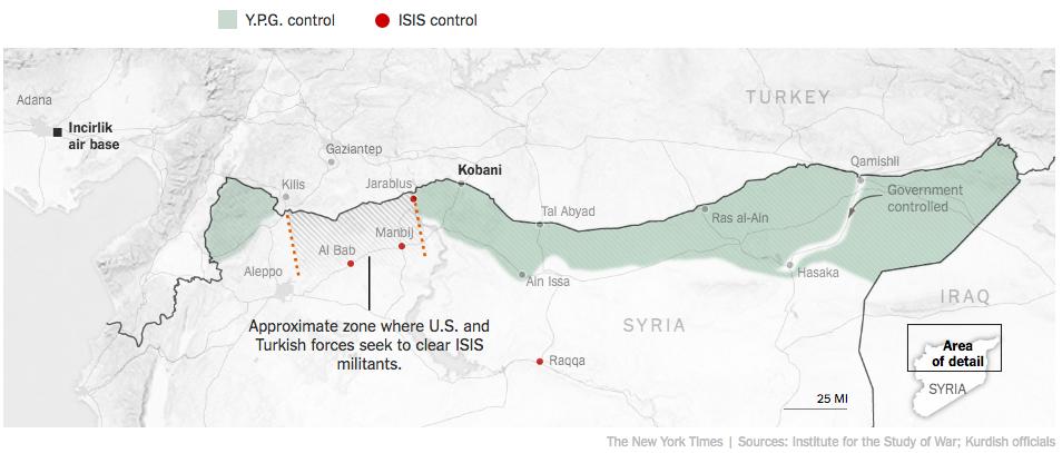 シリア北部クルド人地域へのトルコの勢力圏主張