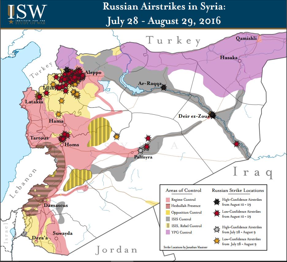 シリア内戦地図2016年8月ISW