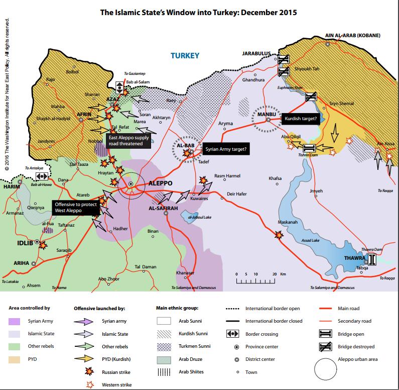 シリア北部回廊地帯詳細2015年12月