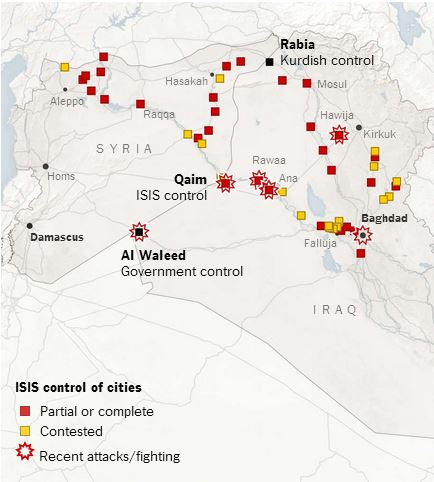 ISIS_Iraqi Gov losing control of border crossings_NYT_June22_2014