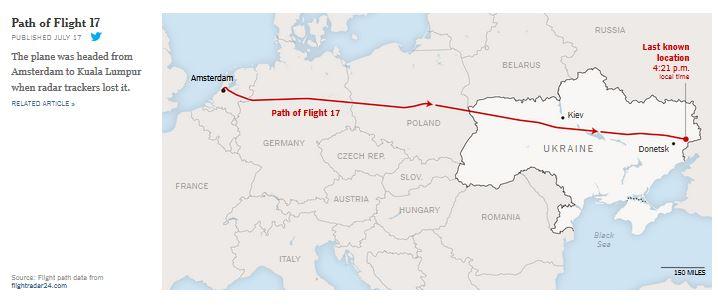 MH17の飛行ルートNYT