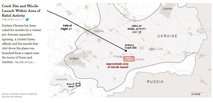 ウクライナ東部MH17墜落地点地図NYT
