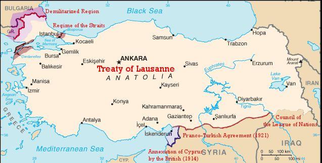 トルコの版図を決めた条約の地図