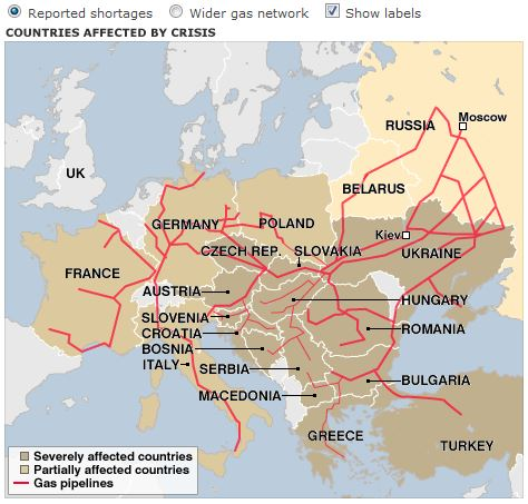 パイプライン網と2009年のガス供給途絶国